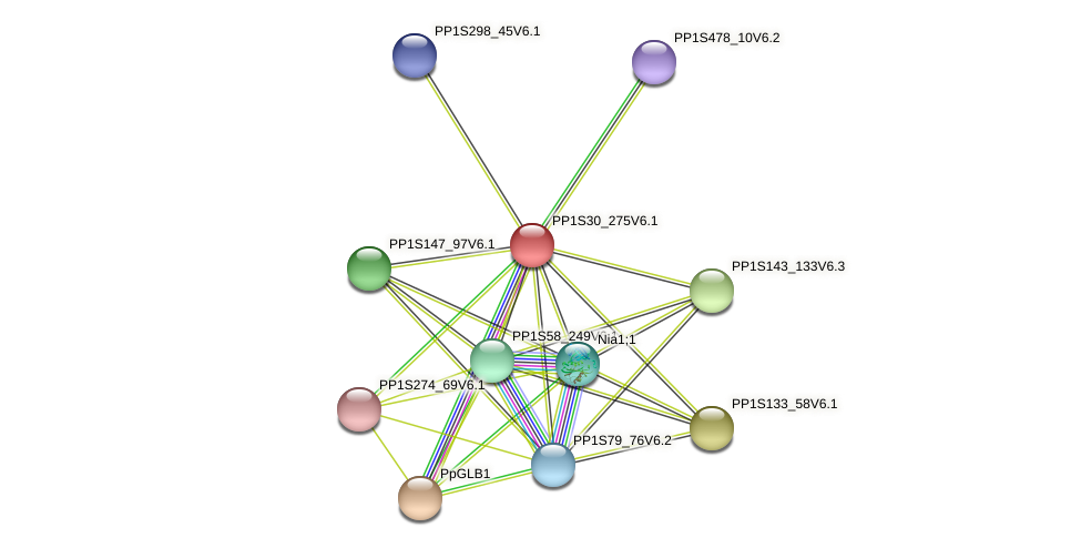PP1S30_275V6.1 protein (Physcomitrella patens) - STRING interaction network
