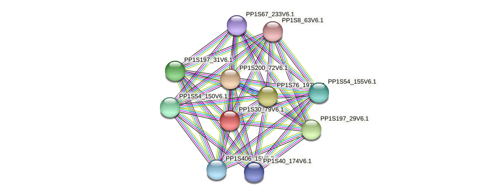 PP1S30_79V6.1 protein (Physcomitrella patens) - STRING interaction network