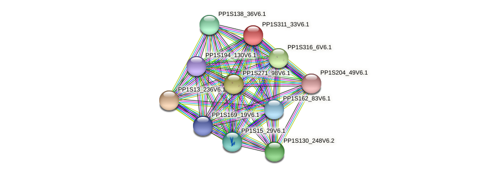 PP1S311_33V6.1 protein (Physcomitrella patens) - STRING interaction network