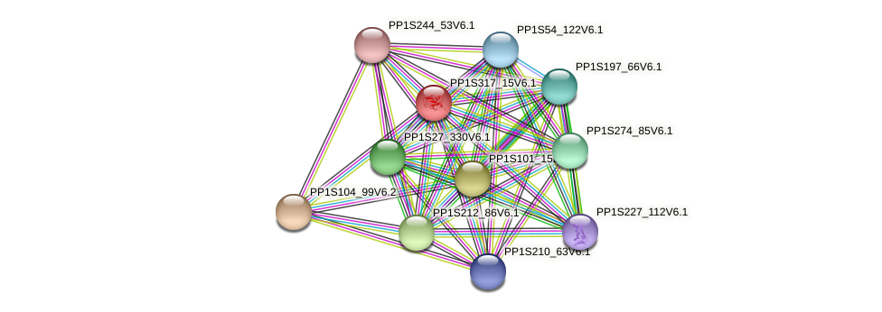 PP1S317_15V6.1 protein (Physcomitrella patens) - STRING interaction network