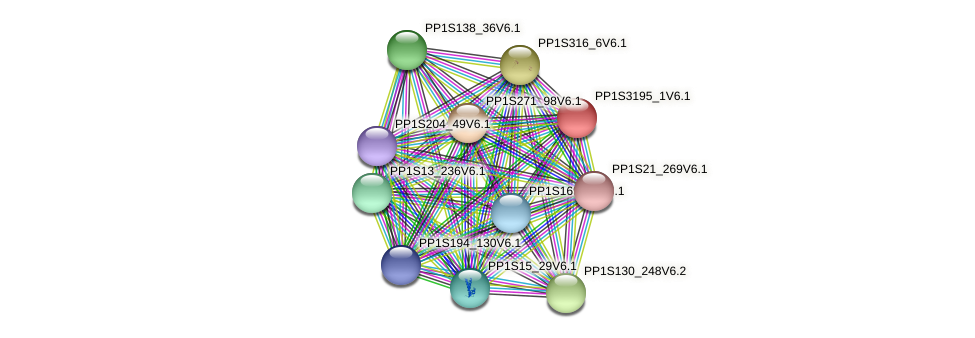 PP1S3195_1V6.1 protein (Physcomitrella patens) - STRING interaction network