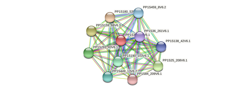 PP1S321_11V6.1 protein (Physcomitrella patens) - STRING interaction network