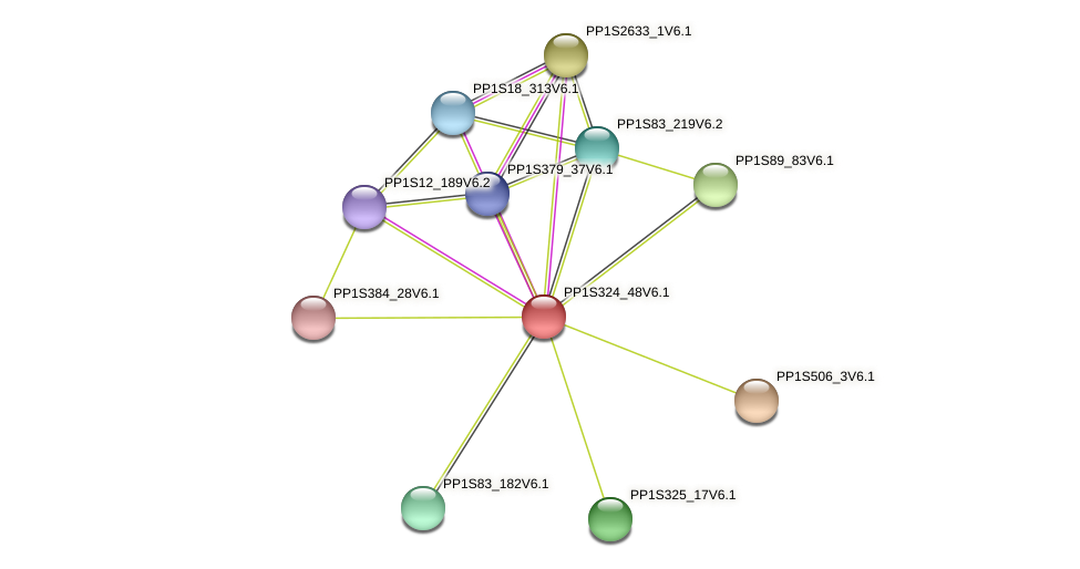 PP1S324_48V6.1 protein (Physcomitrella patens) - STRING interaction network