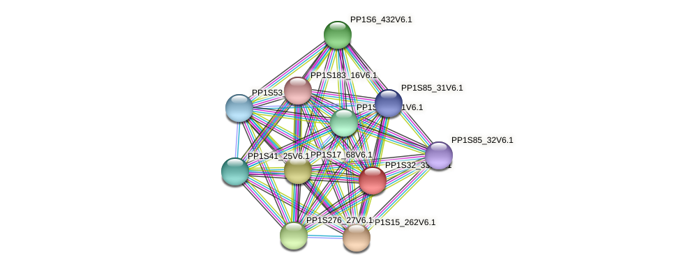 PP1S32_330V6.1 protein (Physcomitrella patens) - STRING interaction network