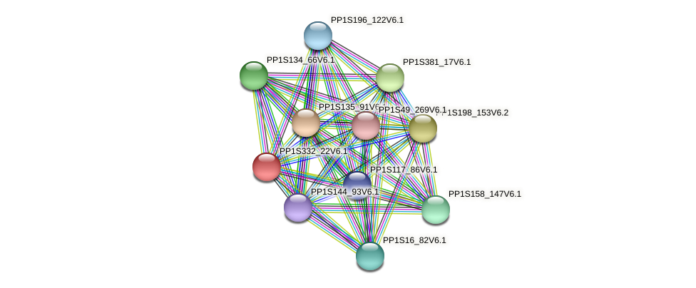 PP1S332_22V6.1 protein (Physcomitrella patens) - STRING interaction network