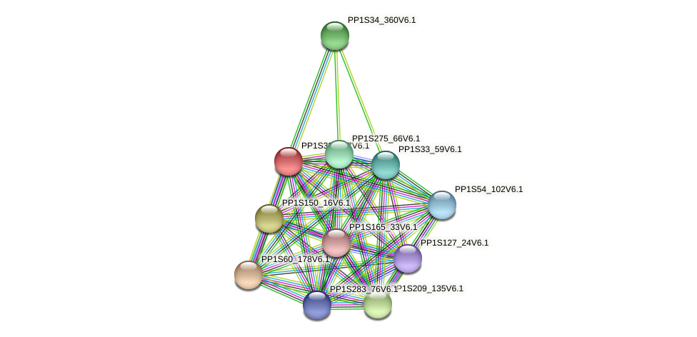 PP1S33_197V6.1 protein (Physcomitrella patens) - STRING interaction network