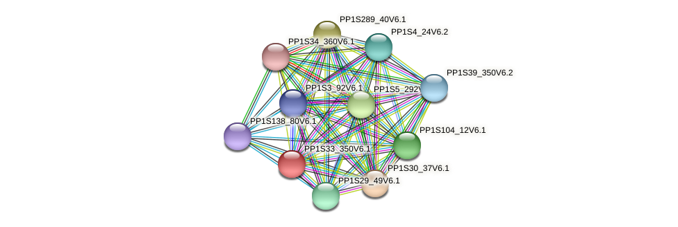 PP1S33_350V6.1 protein (Physcomitrella patens) - STRING interaction network