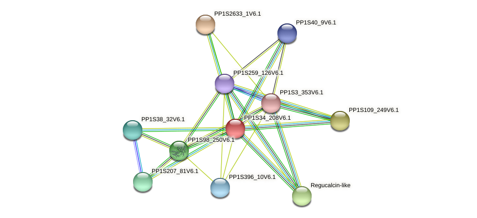 PP1S34_208V6.1 protein (Physcomitrella patens) - STRING interaction network