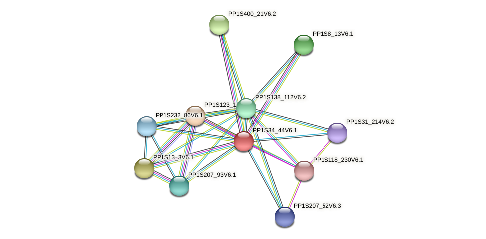 PP1S34_44V6.1 protein (Physcomitrella patens) - STRING interaction network