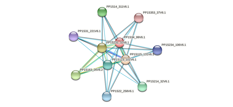 PP1S34_99V6.1 protein (Physcomitrella patens) - STRING interaction network