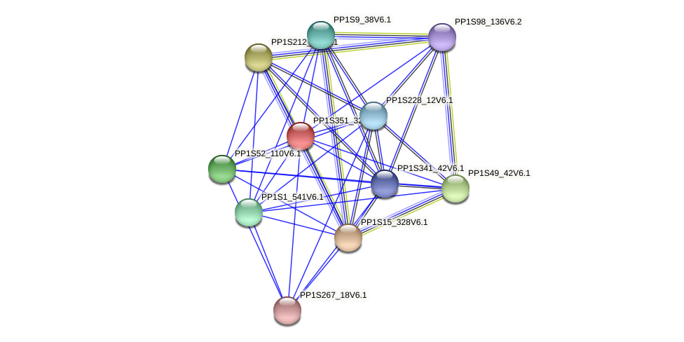 PP1S351_32V6.1 protein (Physcomitrella patens) - STRING interaction network