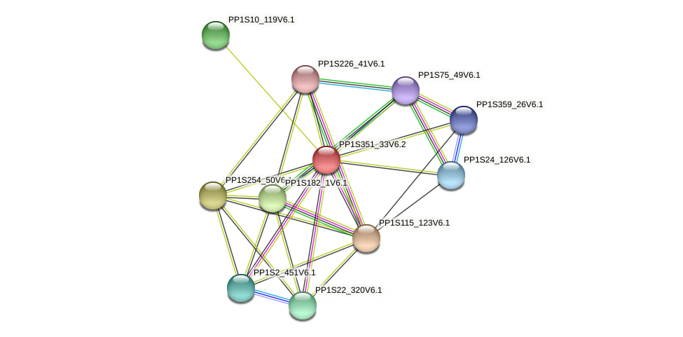 PP1S351_33V6.1 protein (Physcomitrella patens) - STRING interaction network