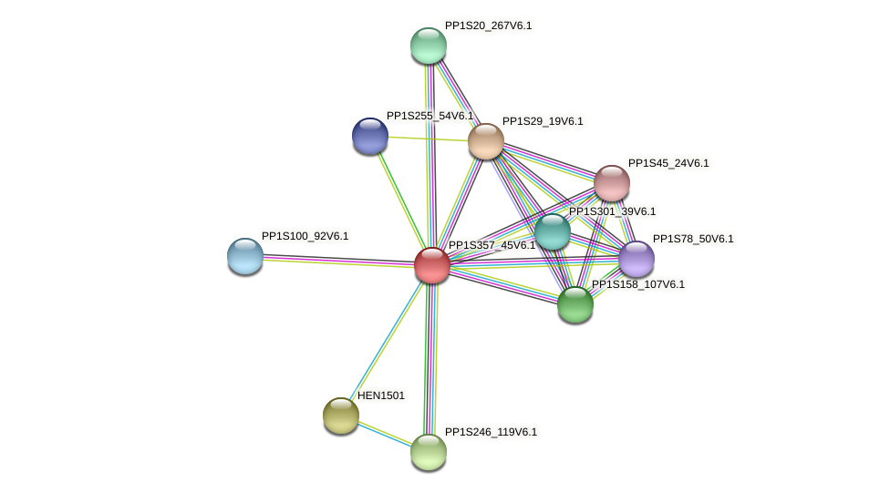 PP1S357_45V6.1 protein (Physcomitrella patens) - STRING interaction network