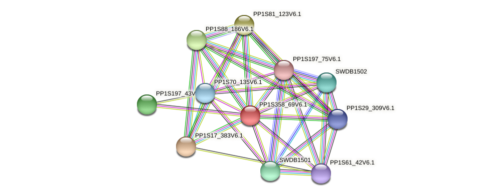 PP1S358_69V6.1 protein (Physcomitrella patens) - STRING interaction network