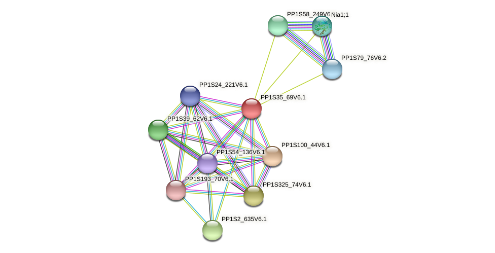 PP1S35_69V6.1 protein (Physcomitrella patens) - STRING interaction network