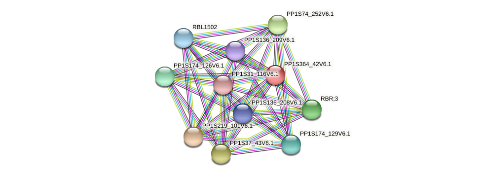 PP1S364_42V6.1 protein (Physcomitrella patens) - STRING interaction network