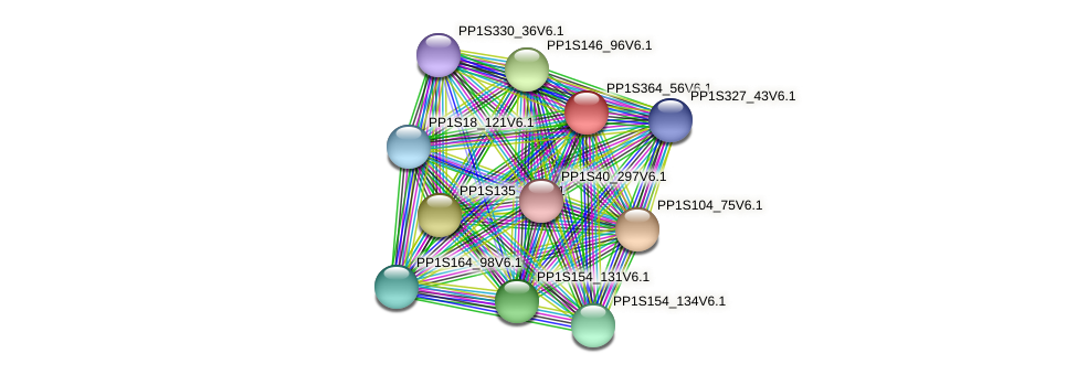 PP1S364_56V6.1 protein (Physcomitrella patens) - STRING interaction network