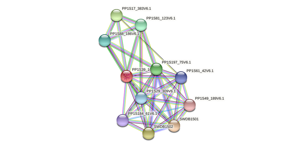 PP1S39_109V6.1 protein (Physcomitrella patens) - STRING interaction network