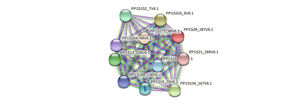 PP1S39_287V6.1 protein (Physcomitrella patens) - STRING interaction network