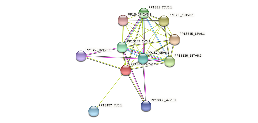 PP1S39_296V6.2 protein (Physcomitrella patens) - STRING interaction network