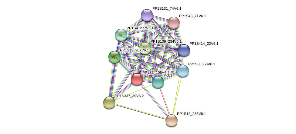 PP1S3_105V6.1 protein (Physcomitrella patens) - STRING interaction network