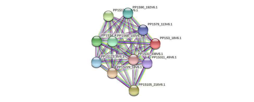 PP1S3_18V6.1 protein (Physcomitrella patens) - STRING interaction network