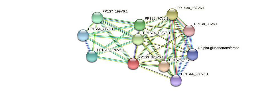 PP1S3_320V6.1 protein (Physcomitrella patens) - STRING interaction network