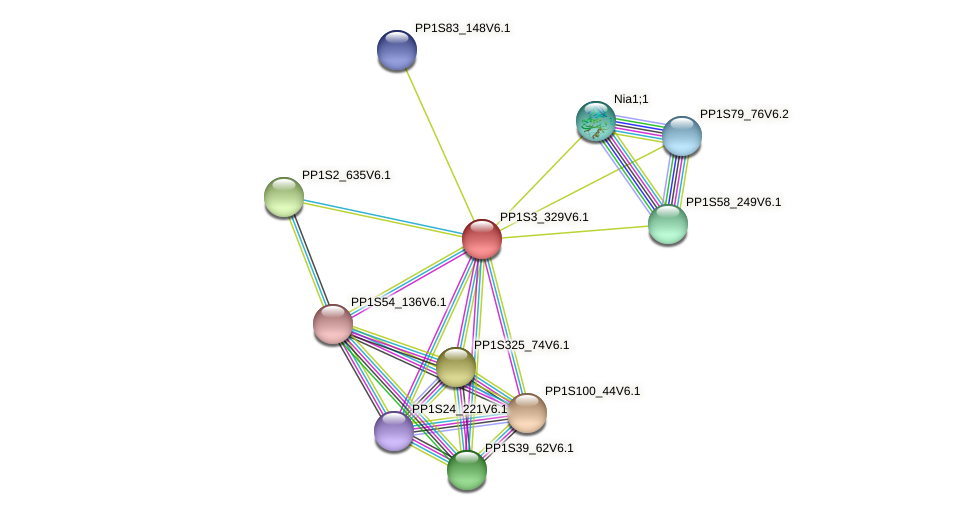 PP1S3_329V6.1 protein (Physcomitrella patens) - STRING interaction network