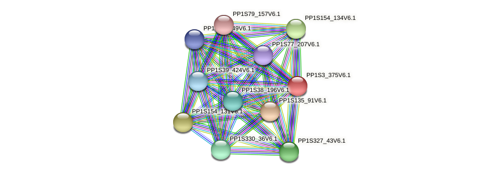 PP1S3_375V6.1 protein (Physcomitrella patens) - STRING interaction network