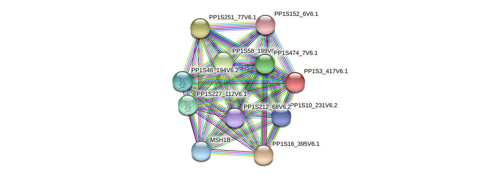 PP1S3_417V6.1 protein (Physcomitrella patens) - STRING interaction network