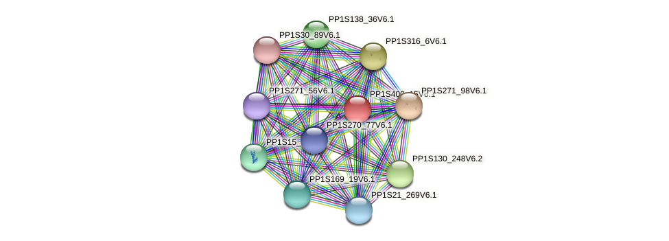 PP1S400_15V6.1 protein (Physcomitrella patens) - STRING interaction network