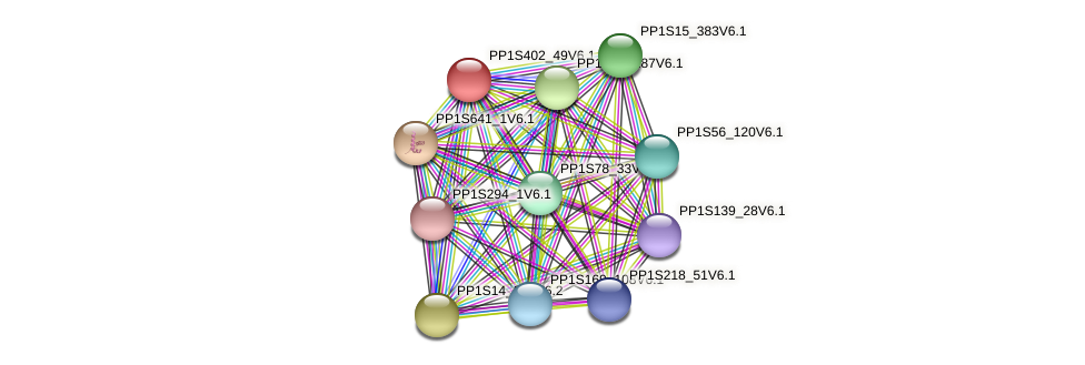 PP1S402_49V6.1 protein (Physcomitrella patens) - STRING interaction network