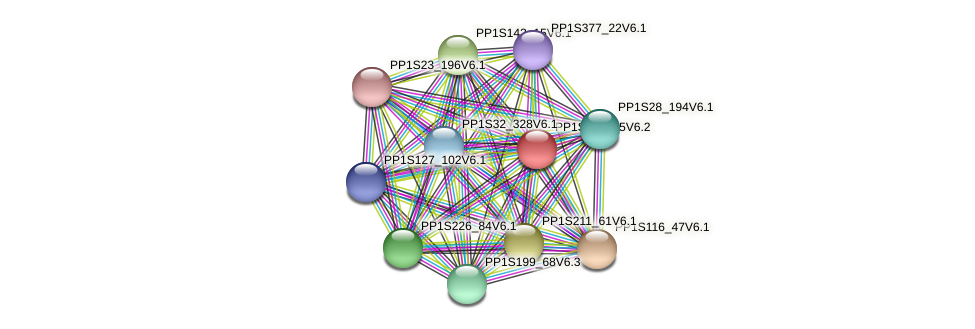 PP1S408_25V6.2 protein (Physcomitrella patens) - STRING interaction network