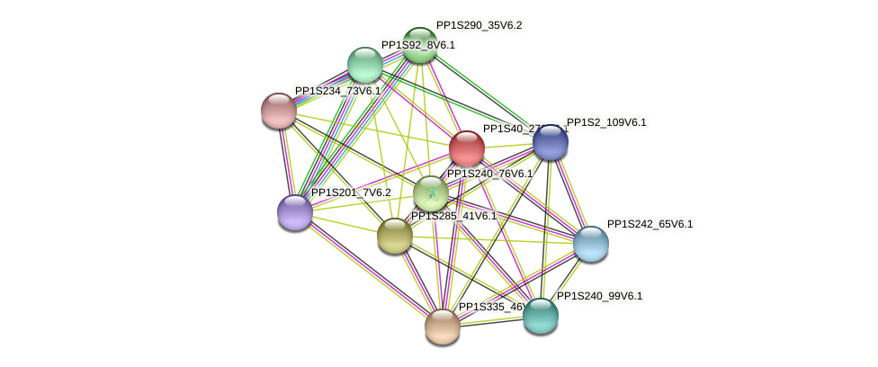 PP1S40_279V6.1 protein (Physcomitrella patens) - STRING interaction network