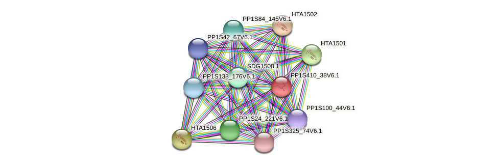 PP1S410_38V6.1 protein (Physcomitrella patens) - STRING interaction network