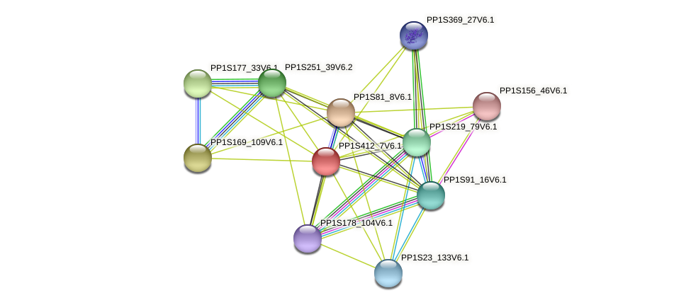 PP1S412_7V6.1 protein (Physcomitrella patens) - STRING interaction network