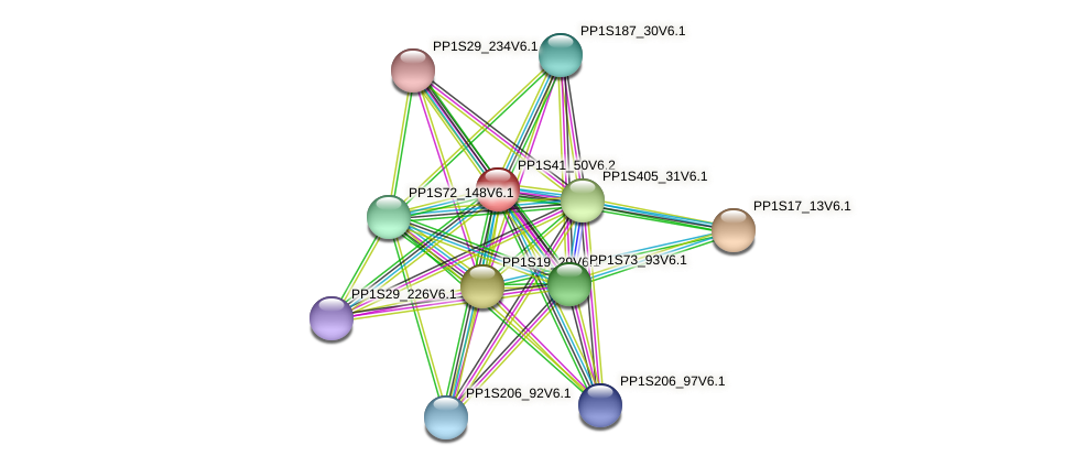 PP1S41_50V6.1 protein (Physcomitrella patens) - STRING interaction network