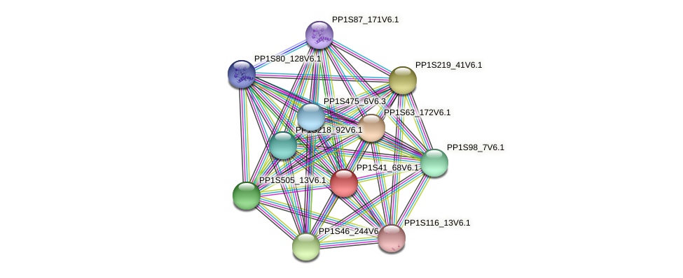 PP1S41_68V6.1 protein (Physcomitrella patens) - STRING interaction network