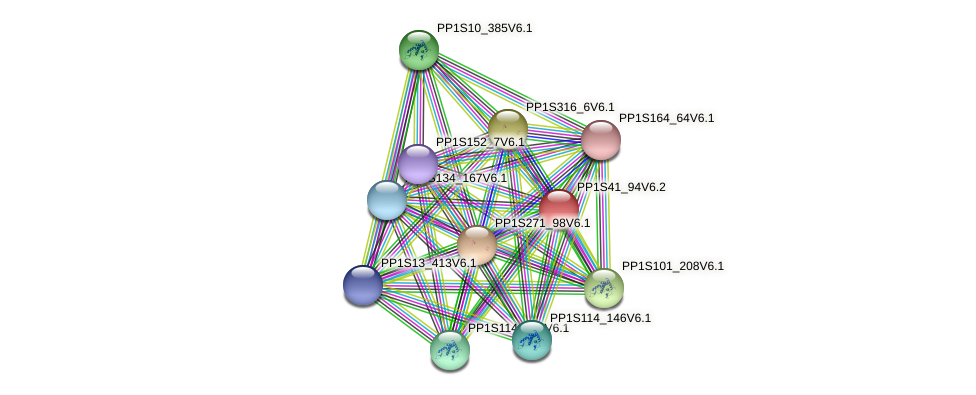 PP1S41_94V6.1 protein (Physcomitrella patens) - STRING interaction network