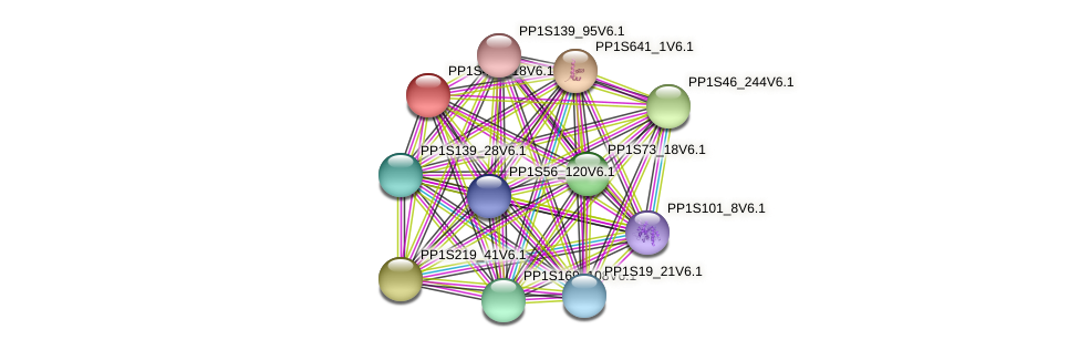 PP1S425_18V6.1 protein (Physcomitrella patens) - STRING interaction network