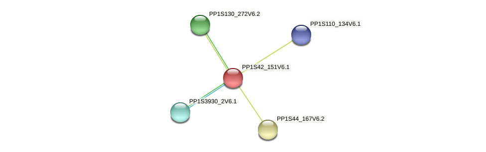 PP1S42_151V6.1 protein (Physcomitrella patens) - STRING interaction network