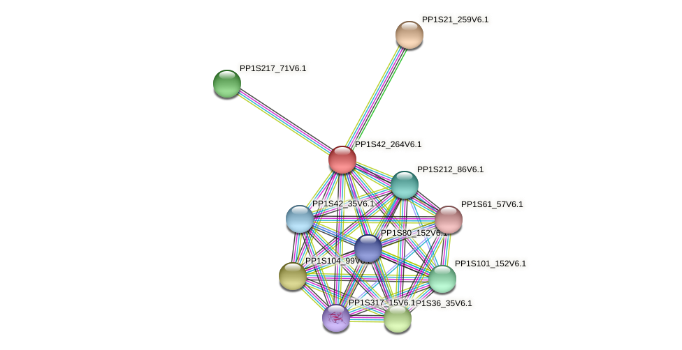 PP1S42_264V6.1 protein (Physcomitrella patens) - STRING interaction network
