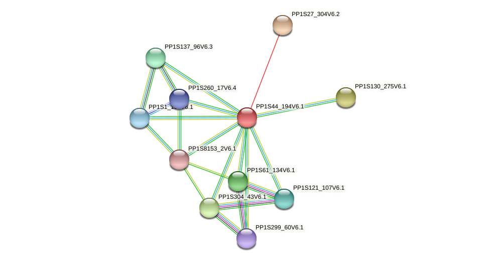 PP1S44_194V6.1 protein (Physcomitrella patens) - STRING interaction network