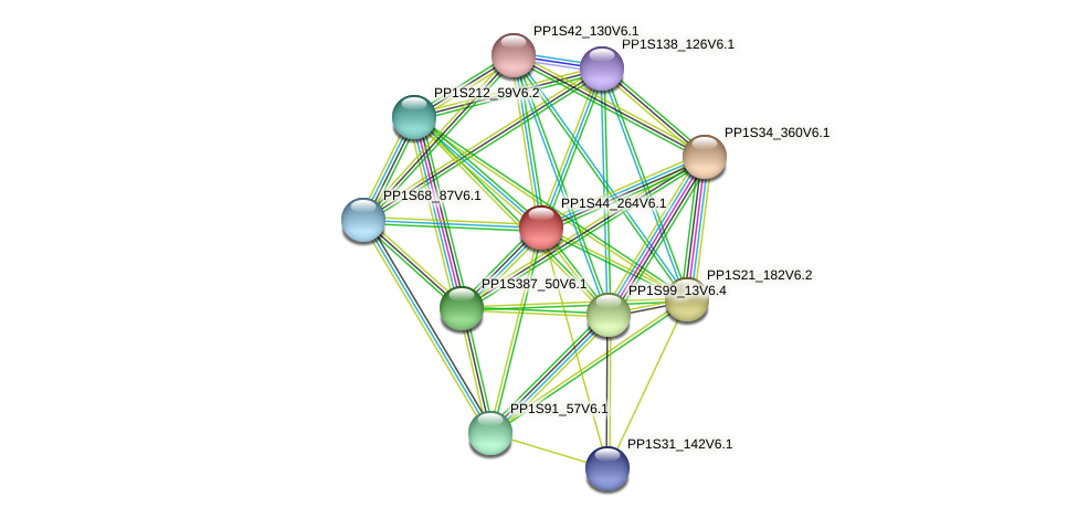 PP1S44_264V6.1 protein (Physcomitrella patens) - STRING interaction network