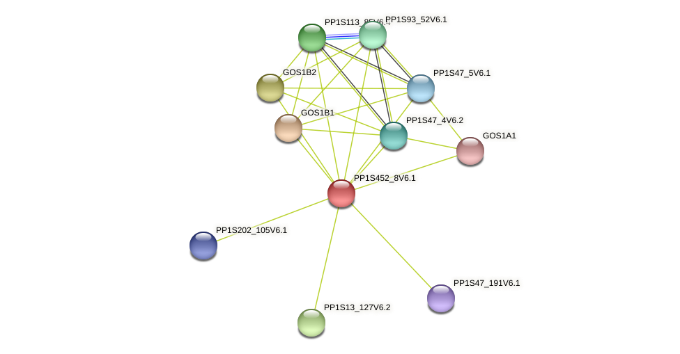 PP1S452_8V6.1 protein (Physcomitrella patens) - STRING interaction network