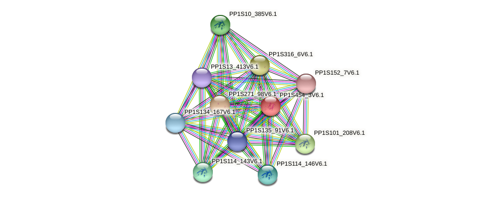 PP1S454_3V6.1 protein (Physcomitrella patens) - STRING interaction network