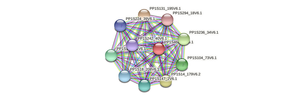 PP1S468_18V6.1 protein (Physcomitrella patens) - STRING interaction network