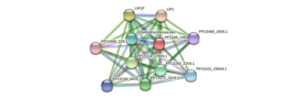 PP1S46_149V6.1 protein (Physcomitrella patens) - STRING interaction network