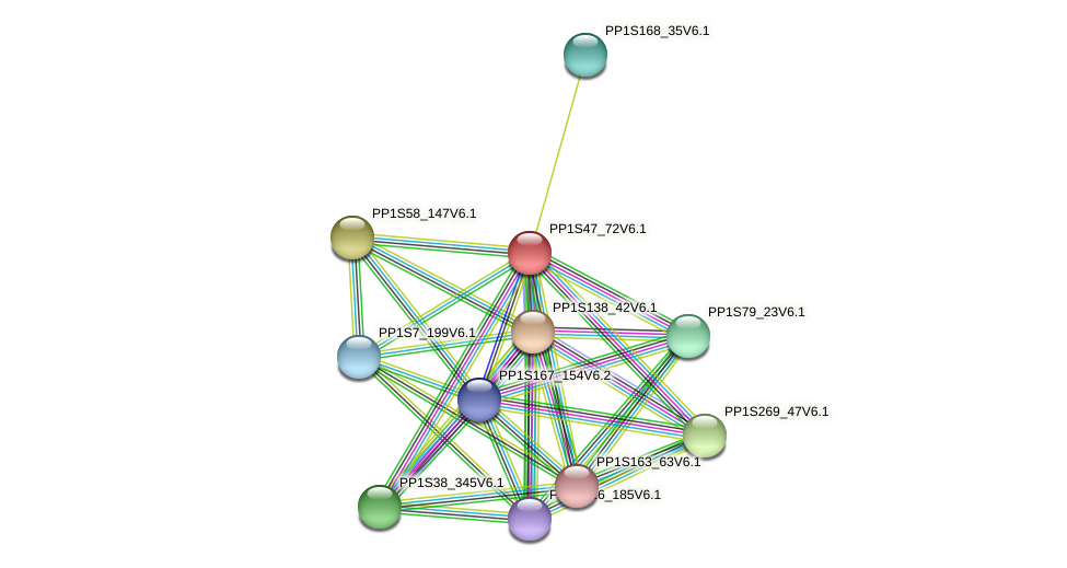 PP1S47_72V6.1 protein (Physcomitrella patens) - STRING interaction network