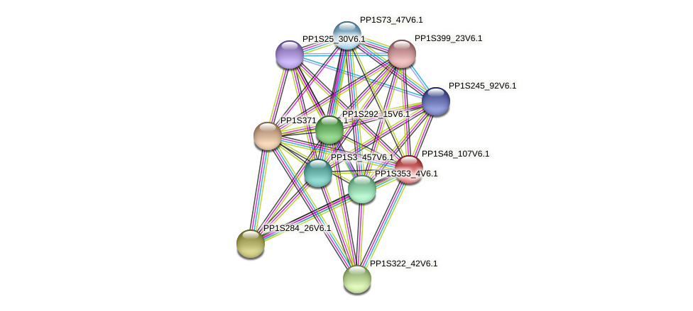 PP1S48_107V6.1 protein (Physcomitrella patens) - STRING interaction network